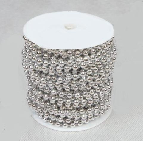 Бусы на бобине (размер: 6мм х 20м) Цвет:серебряный