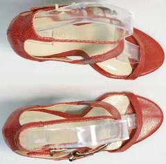 Открытые женские босоножки из натуральной кожи Via Uno1103-6605 Red.