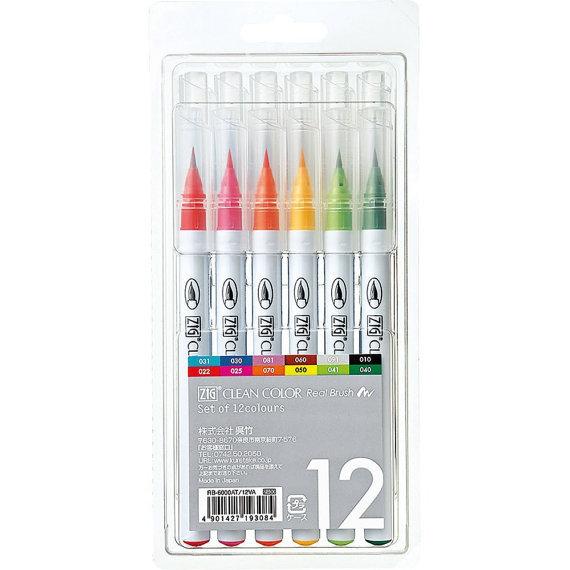 Набор акварельных маркеров ZIG Clean Color Real Brush- 12 шт.