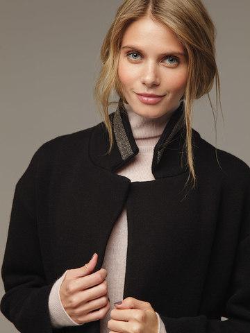 Женское черное пальто шерсть/кашемир - фото 4