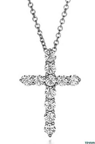 Серебряный крестик с цирконами бриллиантовой огранки в  стиле Tiffany