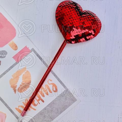 Ручка с пайетками Сердце Красное-Серебристое