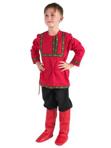 Рубаха красная льняная 3