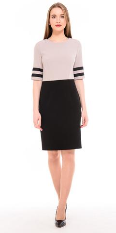 Фото бежевое платье-футляр для офиса с контрастной полочкой - Платье З206-302 (1)