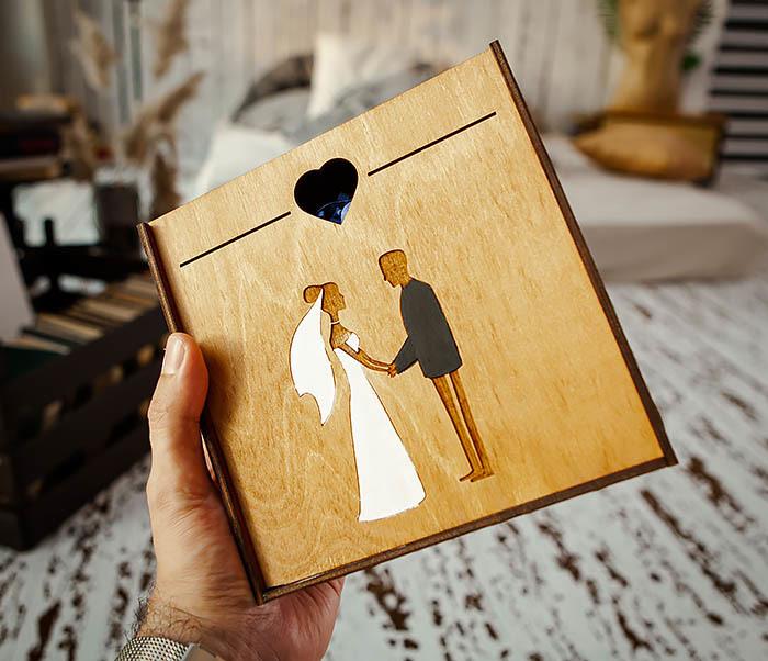 BOX236-2 Подарочная деревянная коробка на свадьбу (17*17*7 см) фото 04