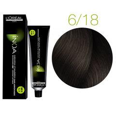 L'Oreal Professionnel INOA 6.18 (Темный блондин пепельный мокка) - Краска для волос