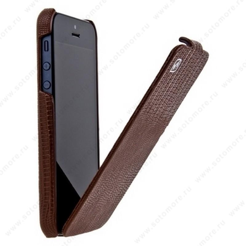 Чехол-флип HOCO для iPhone SE/ 5s/ 5C/ 5 - HOCO Lizard pattern Leather Case Brown