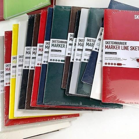 Скетчбук SKETCHMARKER MARKER LINE 160г/м.кв 148х210см 16л мягкая обложка цв. вишня