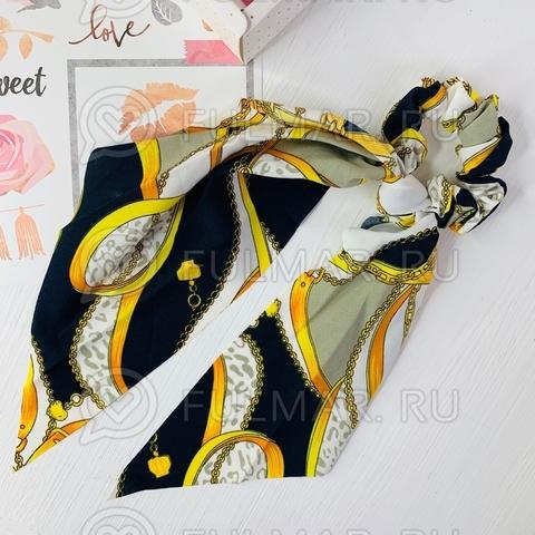 Резинка для волос с платком Рисунок Цепи (цвет: жёлтый, чёрный, белый)