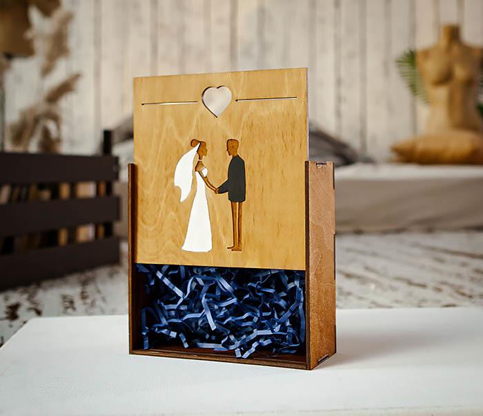 BOX236-2 Подарочная деревянная коробка на свадьбу (17*17*7 см) фото 05