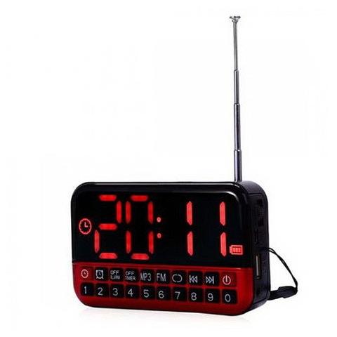 Радиоприемник YG-80 + часы AUX/MP3/FM/microSD/SD/USB, 1x18650, ЗУ microUSB