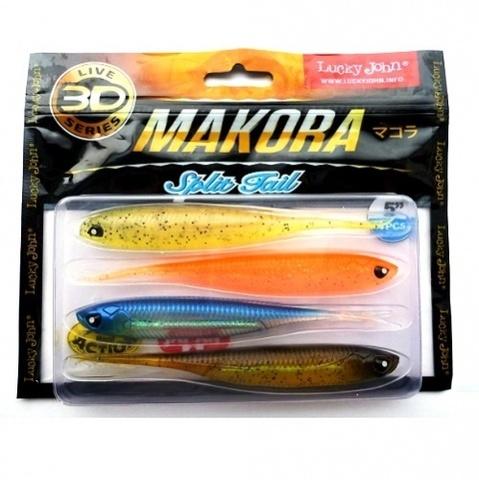 Виброхвост LJ 3D Series Makora Split Tail 5.0in (12,7 см), цвет MIX1, 4 шт.