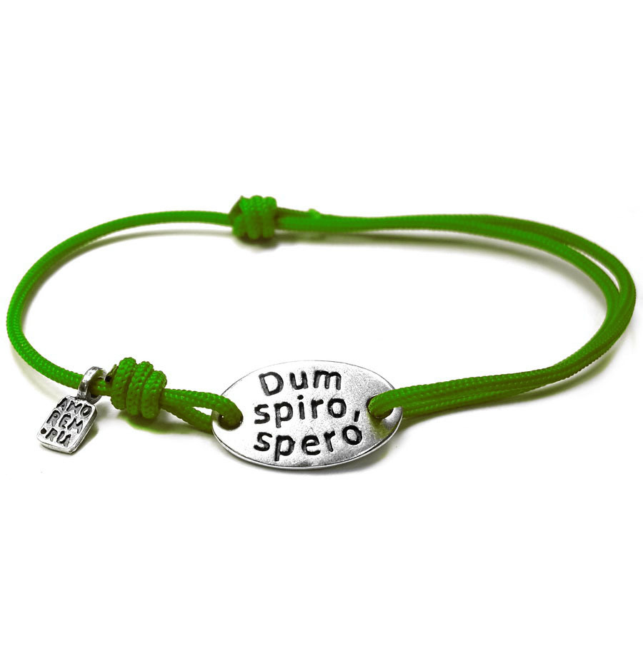 Dum spirо spero / While I breathe, I hope bracelet, sterling silver