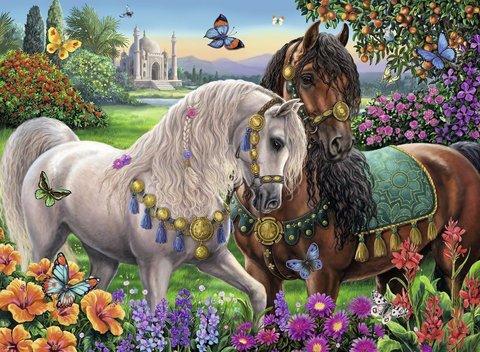 Картина раскраска по номерам 40x50 Царские лошади