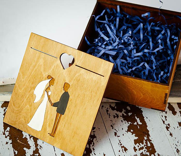 BOX236-2 Подарочная деревянная коробка на свадьбу (17*17*7 см) фото 07