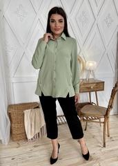 Глэм. Стильная блуза больших размеров. Оливка