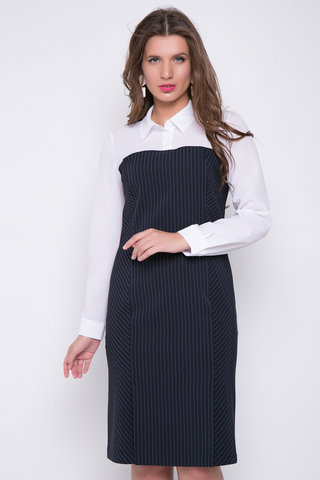 <p>Эффектное офисное платье - футляр. Оригинальный фасон подчеркнет Вашу индифидуальность. Длины: 44-101см; 46-102см; 48-103см; 50-103см8 52-104см; 54-104см</p>