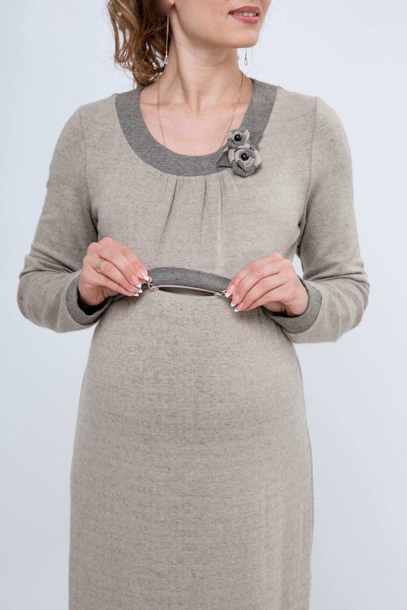 Фото платье для беременных и кормящих GEMKO от магазина СкороМама, бежевый, размеры.