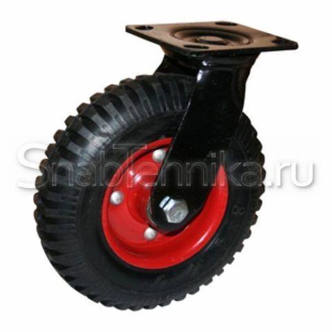 Большегрузная поворотная колесная опора PRS 160 (160 мм), литая резина с протектором