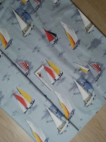 Ткань пике для пошива покрывал Кораблики УЦЕНКА