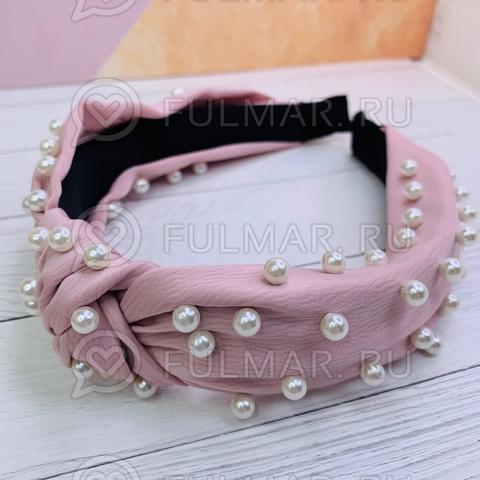 Розовый ободок чалма для волос с искусственным жемчугом Mia
