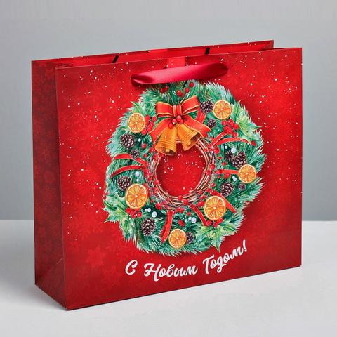 Пакет ламинированный вертикальный «Новогодний венок»,  8 × 23 × 27 см