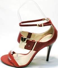 Модные женские босоножки с ремешком на щиколотке Via Uno1103-6605 Red.