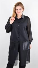 Кензо. Удлиненный блузон plus size. Черный.
