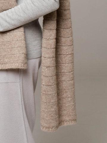 Женский шарф песочного цвета из шерсти - фото 2