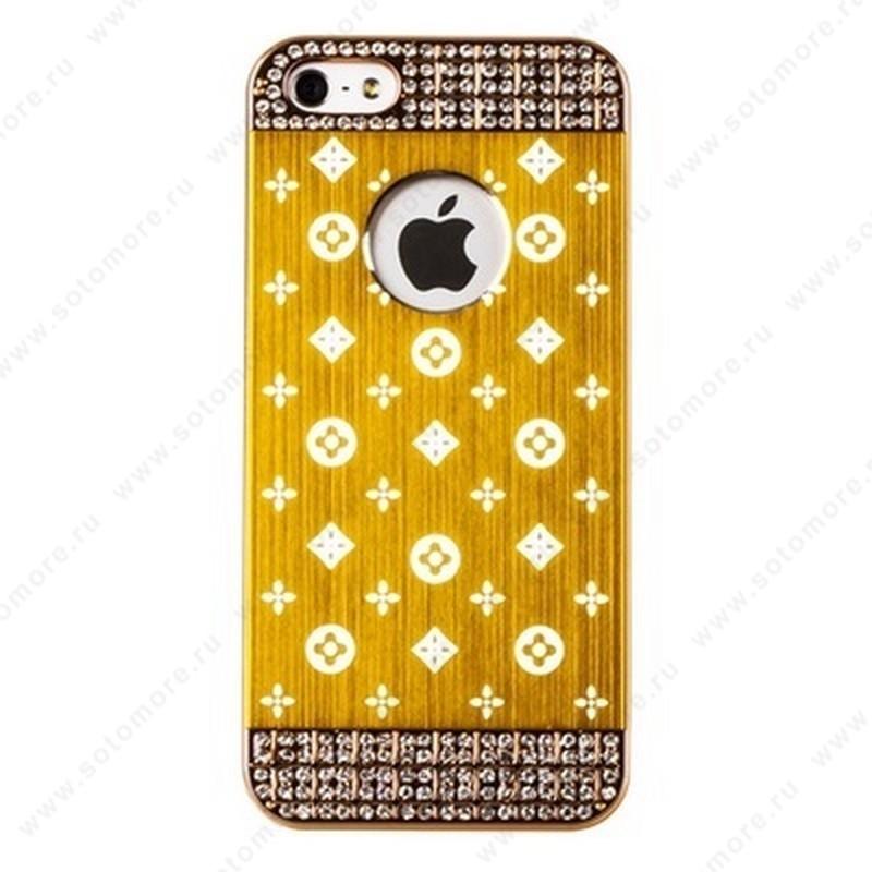 Накладка LV металлическая для iPhone SE/ 5s/ 5C/ 5 золото золотая