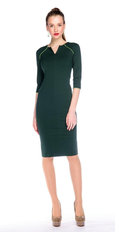 Платье З127-443 - Платье приталенного силуэта, зауженное к низу. Втачной рукав 3/4 с контрастной окантовкой имитирующей рукав-реглан. Вертикальные отстрочки по всей длине, визуально стройнят фигуру. Плотный, стрейчевый трикотаж обладает утягивающим эффектом. В этом платье вы будете неотразимы как в офисе или на деловой встрече, так и на вечернем мероприятии.