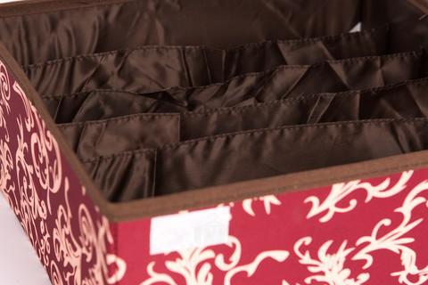 Складной органайзер для бюстгальтеров, 6 ячеек, 32*32*14 см (бордо с узорами)