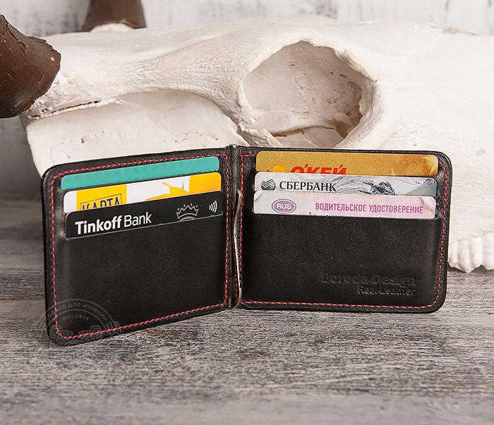WB108-6 Кошелек с зажимом для денег из гладкой черной кожи.»Boroda Design» фото 04