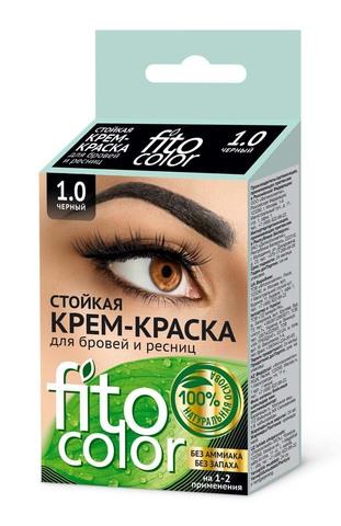 Фитокосметик Fito color Стойкая крем-краска для бровей и ресниц цвет Черный 2х2мл