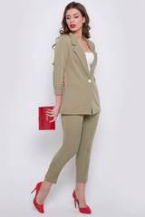 <p>Хит сезона! Деловой костюм модного кроя. Пиджак свободного силуэта. Рукав длинный. Функциональные карманы. Без подклада. Брюки укороченные на резинке. Застежка на пуговицу. Длины: Пиджак: 44-50р - 76-78см Брюки: 44-50р - 90-92см</p>