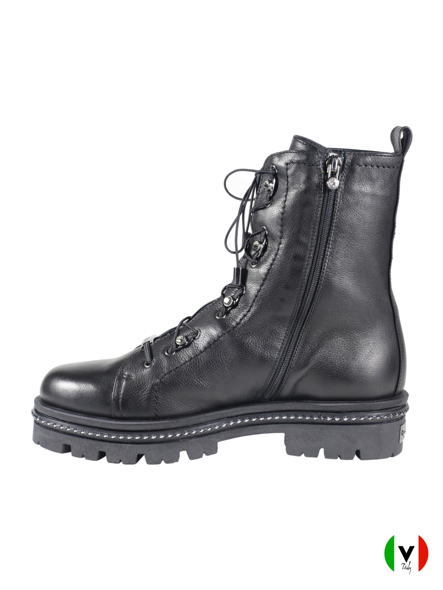 Зимние ботинки Mara со шнуровкой 804, артикул 804, сезон зима, цвет чёрный, материал кожа, цена 19 500 руб., veroitaly.ru
