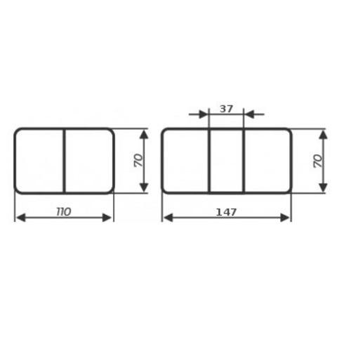 Стол Румба ПР КМ 04 ВН 03 ВН / Белый с венге / опора 03 венге / 110(147)х70 см
