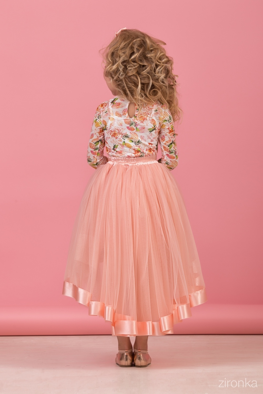 Комплект (блузка, майка, юбка) для девочки 64-8005-4