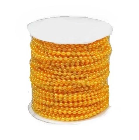 Бусы на бобине (размер: 4мм х 40м) Цвет:желтый