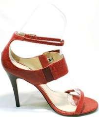 Красивые босоножки на каблуке с ремешком на щиколотке Via Uno1103-6605 Red.
