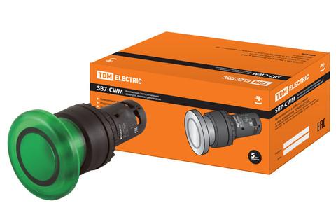 Кнопка грибовидная SB7-CWM31-24V(LED) d35мм 1з зеленая TDM