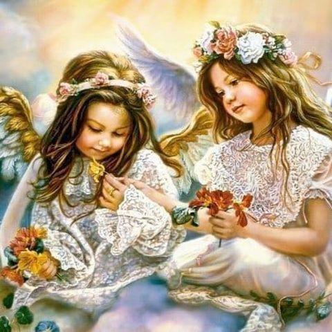 Алмазная Мозаика + Багет 40x50 Ангелы с цветами в руках