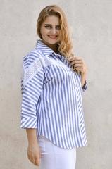 Астра. Летняя рубашка больших размеров. Голубой.
