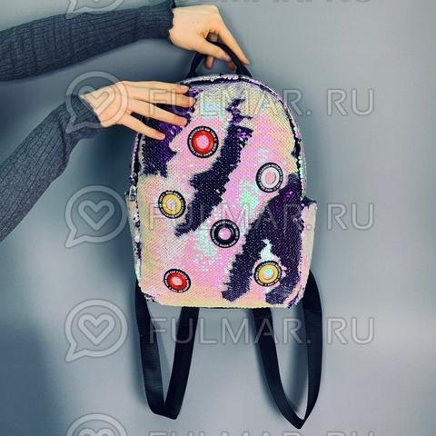 Рюкзак большой в двусторонних пайетках Перламутровый-Фиолетовый модель