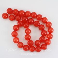 Бусина Жадеит, шарик, цвет - красно-оранжевый, 12 мм, нить