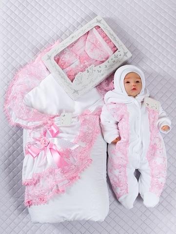 Набор на выписку Красотка бело-розовый Lux