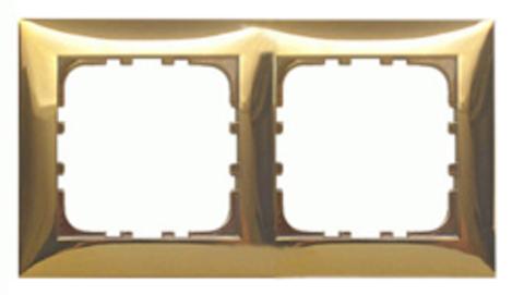 Рамка на 2 поста. Цвет Золото. LK Studio LK60 (ЛК Студио ЛК60). 864216