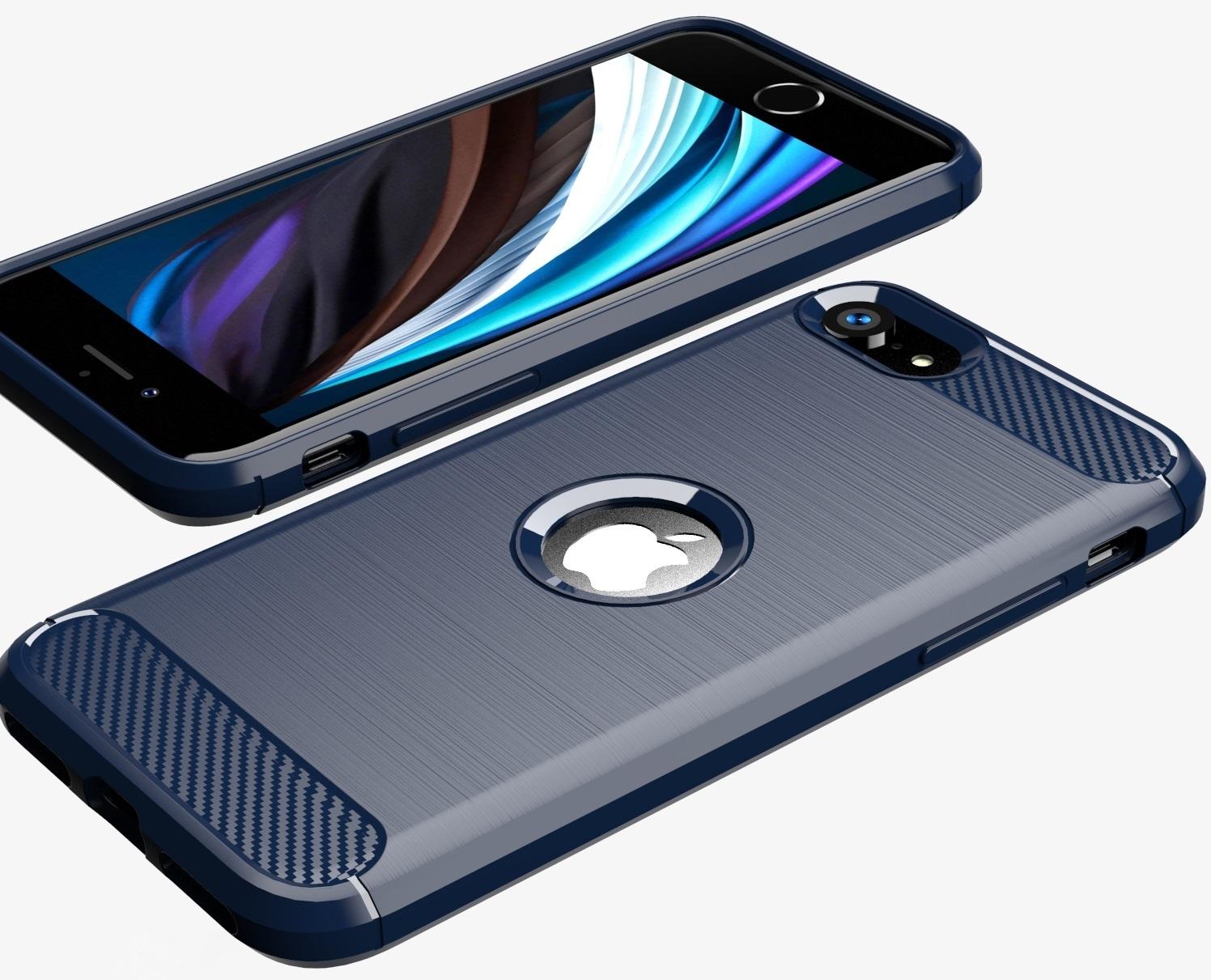 Чехол синего цвета для iPhone SE (2020), серии Carbon от Caseport