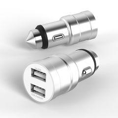 АЗУ JC001 USB 5V metal (2.4A+1A) silver