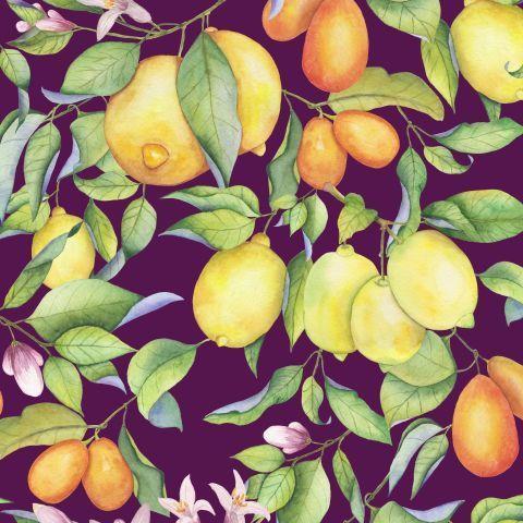 Акварельные лимоны на фиолетовом